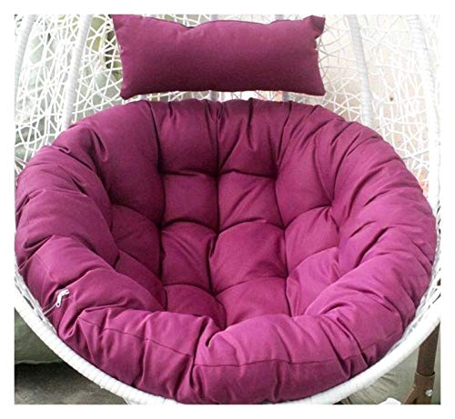 LLNN Home Decoration Swing Chair Cushion Swing Hanging Basket Seat Cushion Weave Egg Seat Pads with Pillow for Garden Patio Rattan Swing Chair Hanging Basket Furniture Cushion (Color : Purple)