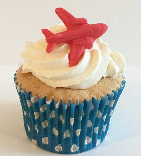 6 Handgemachte Kuchendekorationen aus Zucker: Rote Flugzeuge / 6 Red Sugar Planes