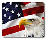 Non-Slip Rubber Mousepad Eagle on American Flag Mouse Pad By Smooffly