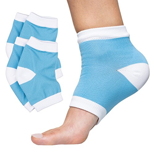 ZenToes Moisturizing Heel Socks 2 Pairs Gel Lined Toeless Spa Socks to Heal and Treat Dry, Cracked Heels While You Sleep (Regular, Blue)