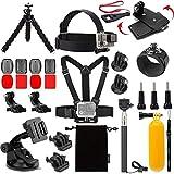 Fuquan DIAN 27 En 1 Sport Action Camera Kit de Accesorios Compatible con Gopro héroe 7 6 5 4 3 Cabeza Correa for la muñeca Correa de Montaje Selfie Palo Accesorios de Soporte