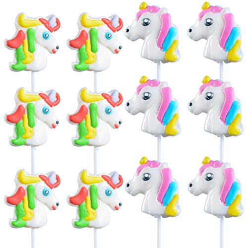 Unicorn Lollipops, Pack of 12 Unicorn Suckers Great for Unicorn Party Favor, Party Decoration or Goody Bag Fillers