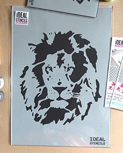 Löwe Gesicht außenschablone. Heim Dekoration & Basteln außenschablone. Farbe Löwe auf Wände Stoff & Möbel wiederverwendbar ideal Stencils LTD - halb geschliffen Durchsichtig Schablone, M/25X29CM