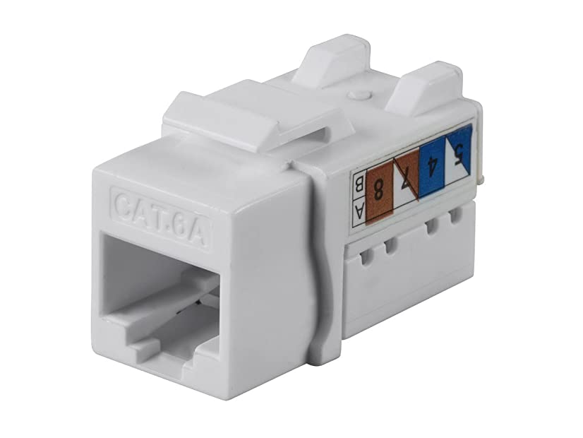 Monoprice Cat6A 90 Degree Unshielded Punch Down Keystone Jack, Dual Type IDC, 25 Pack, White