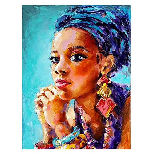 ZhanMazwj 5D Diamond Painting Blue African Woman Earrings Full Drill by Number Kits, DIY Rhinestone Pasted Paint with Diamond Set Arts Craft Decorations (12x16inch) 1OKKAEZS-1-020-H
