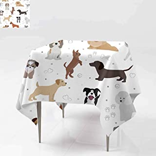 Square Table Cloth ,Dog vector cute cartoon puppy illustration home pets d,Party Decorations Table Cover Cloth 36x36 Inch oggy d ifferent breed and poses bulldog hand small doggie terrier maltese-dog