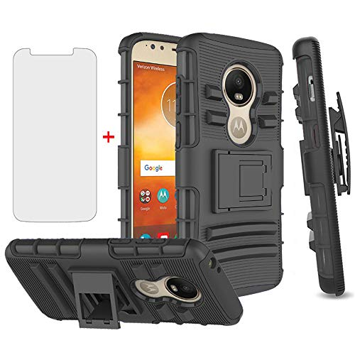 Phone Case for Motorola Moto E5 Play E 5 Cruise 5E Go with Tempered Glass Screen Protector Cover and Holster Belt Clip Rugged Hard Protective Cell Accessories MotoE5play MotoE5 E5play Cases Men Black