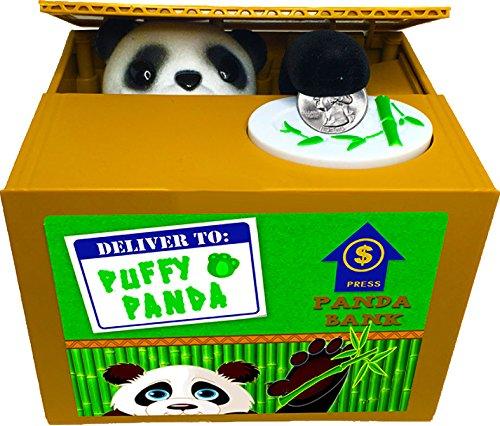 Leading Edge Puffy Panda Animatronic Motorized Bank, Watch Him Eat Your Coins