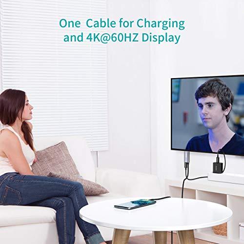 CHOETECH USB C auf HDMI Kabel (4K@60Hz,1.8m) mit 60W Power Delivery Port Kompatibel mit Apple iPad Pro/MacBook Air 2018, MacBook Pro,iMac,Dell XPS,Galaxy S10/S9/S8/Note 9, Huawei P30/P20 Pro/Mate 20