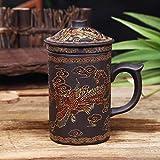 Retro Yixing Dragon Phenix - Taza de té de arcilla morada con tapa e infusor hecho a mano de cerámica para oficina, taza de agua, regalo para el hogar