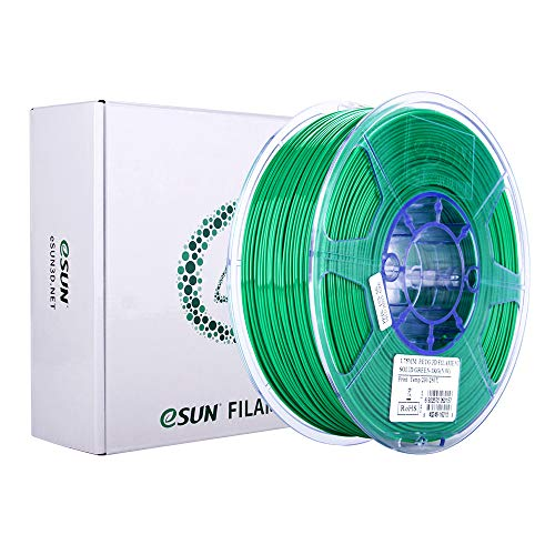 eSUN Filamento PETG 1.75mm, Stampante 3D Filamento PETG, Precisione Dimensionale +/- 0.05mm, Bobina da 1KG (2.2 LBS) Materiali di Stampa 3D per Stampante 3D, Verde Solido