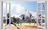 DesFoli Volleyball Beach 3D Look Wandtattoo 70 x 115 cm Wanddurchbruch Wandbild Sticker Aufkleber F528