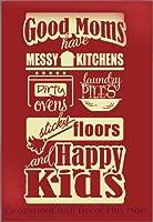 Wall Decor Plus More WDPM2778 Good Moms Happy Kids ビニール 壁デカール 家族 格言 37x20 ベージュ