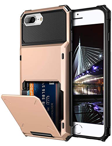 Vofolen Case for iPhone 8 Plus 7 Plus 6s Plus Wallet Card Holder 4-Slot Pocket Scratch Resistant Dual Layer Protective Bumper Rugged Rubber Armor Hard Shell Cover for iPhone 6 6S 7 8 Plus Rose Gold