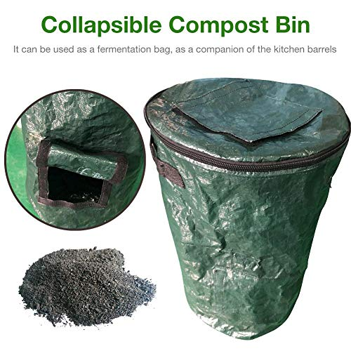 New Fulstarshop Garden Compost Bag, Collapsible Composter Bin Organic PE Yard Waste Bag, Planter Kit...