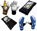 Die Sportskanone Kinder Fingersave Torwarthandschuhe mit Tasche für Kunstrasen Rasen Hartplatz (Blau, 7)