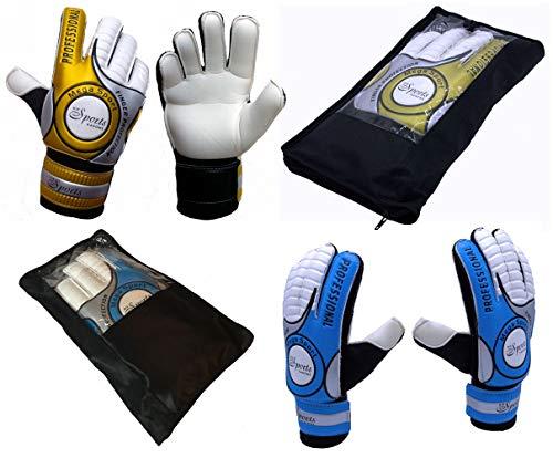 Die Sportskanone Kinder Fingersave Torwarthandschuhe mit Tasche für Kunstrasen Rasen Hartplatz (Gold, 4)