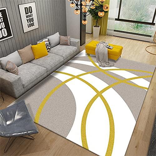Anti-Sucio Alfombra Amarillo Alfombra de salón Moderno Amarillo Rayas Resumen Dormitorio Alfombra Anti-Miton antiácaros Lavable Salón La Alfombrer50x80cm Alfombra 1ft 7.7''X2ft 7.5''