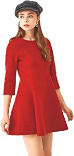 URLAZH Womens Red Sexy Cocktail Party Quarter Sleeves Wool Flare Short Thigh Length Dress