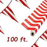 Bulk 100 ft Red and White Striped Tablecloth Roll with 100 ft Pennant Banner,Photo Backdrop Festive Carnival Circus Birthday Theme Party Supplies 40 inch Wide When Unfolded 4E's Novelty