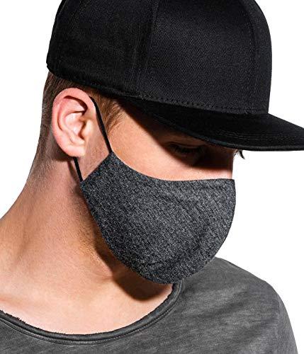 BetterStylz Unisex Behelfsmaske Mundtuch, Baumwolle, mit 1 herausnehmbarem Filter 60 Grad waschbar, Damen & Herren (Dunkel Grau, 1 STK)