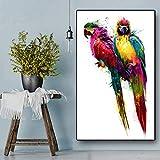 Geiqianjiumai Colorido pájaro Pareja Lienzo Animal Cartel e impresión Acuarela Pintura Sala decoración Pintura Pared Pintura Cartel sin Marco Pintura 60x100cm