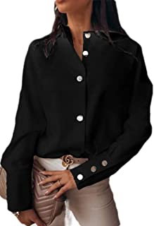 UUYUK Women Casual Long Sleeve Solid Button Down Tops Blouse Shirts