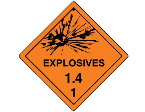 DOT Explosives 1.4 Placard Sign, 10.75 inch Magnetic for Transportation by ComplianceSigns