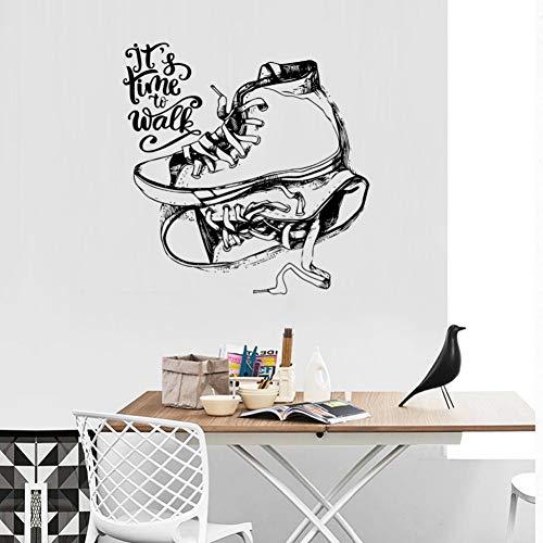 TAOZIAA Calcomanías De Pared De Zapatos De Bocetos Negros Es Hora De Caminar Dormitorio De Niños Decoración De La Pared Del Dormitorio Calcomanías Murales Autoadhesivas