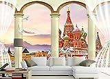 WYJ0844 fondo pared 3D cuadrado rojo cortina de edificio columna romana 3D TV fondo pared Papel tapiz no tejido Papel tapiz 3D Decoración-400cm×280cm