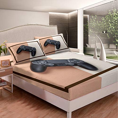 Gamer Bed Sheet Set Video Game Gamepad Bed Sheets for Kids Boys Girls Black Games Decor Bedding Set Geometric Novelty Modern Game Controller Fitted Sheet with 2 Pillowcases 3Pcs Bedding Full