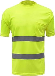 سلامة قميص السلامة عاكس ملابس العمل شبكة التجفيف السريع تي شيرت الجولة الرقبة الليل الجري قصيرة الأكمام yellow-XL