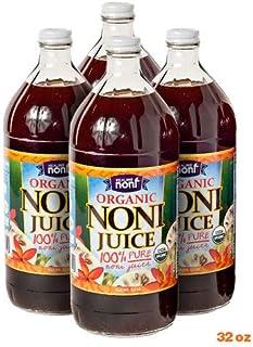 Organic Hawaiian Noni Juice - 4 Pack of 32oz Glass Bottles
