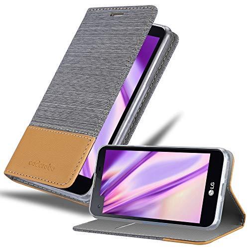 Cadorabo Hülle für LG X Screen - Hülle in HELL GRAU BRAUN – Handyhülle mit Standfunktion und Kartenfach im Stoff Design - Case Cover Schutzhülle Etui Tasche Book