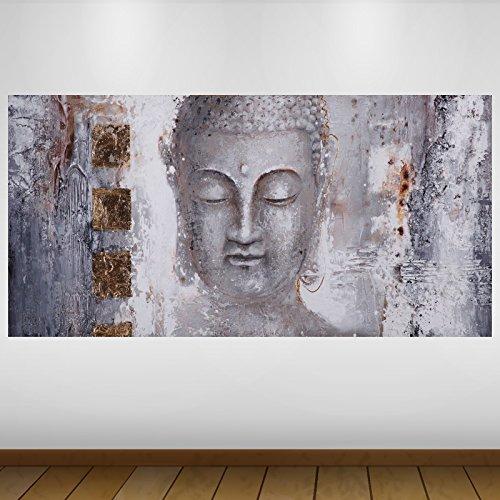 LagunaProject Extra Grande Gray Stone Buda Religión Vinilo Póster - Mural Decoración - Etiqueta de la Pared -140cm x 70cm