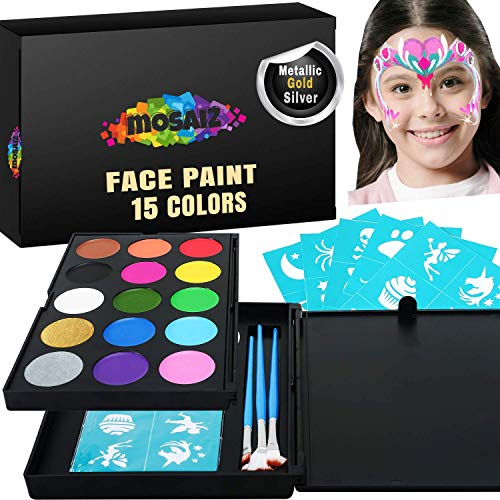 Face Paint Kit for Kids 15 Colors with 2 Metallic Gold and Silver, 3 Brushes, 30 Stencils, 2 Sponges - Professional Face Painting Set for Sensitive Skin, Halloween Makeup, Facepaints Party, Kids Safe