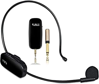 1Mii Long Range Wireless Microphone, Wireless Headset Mic System,160ft Range, 2.4G Wireless Microphone 2 in 1,Fitness Micr...