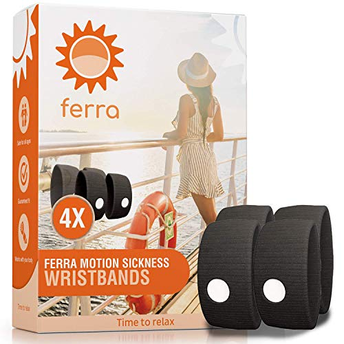 Ferra 2-Pair Motion Sickness Wristbands | Natural Acupressure Sea Sickness, Morning Sickness and Nausea Relief | 4 Sea Sickness Bands for Vacation Essentials and Cruise Ship Accessories