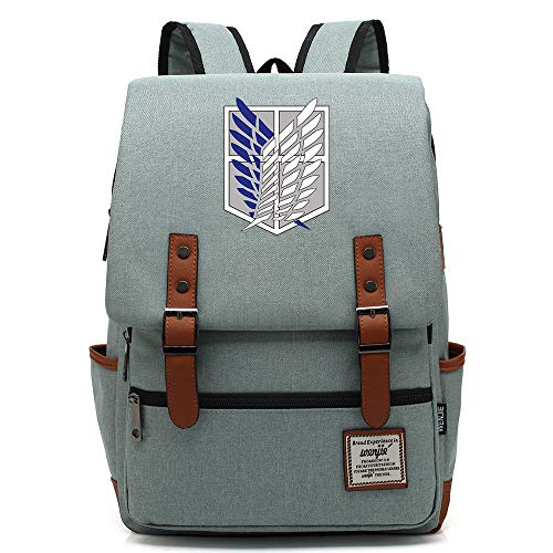 Anime Attack On Titan Backpack, Casual Daypack, Lightweight School Travel Rucksack, Fits 15'' Laptop Tablet 14 inch. Color-19.