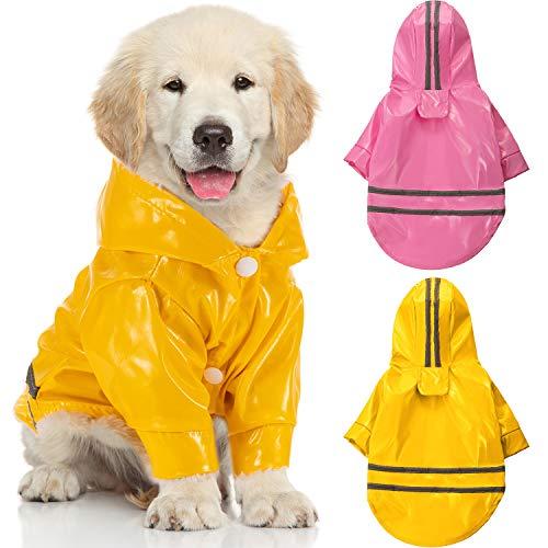 2 Stücke Haustier Hund Regenmantel Hund wasserdichte Regenmäntel Welpe Leichte Regenjacke Haustier Atmungsaktiver Kapuzen Poncho mit Reflektierenden Sicherheit Streifen für Kleine bis Mittlere Hunde