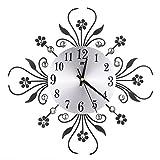 Lamptti Moderne Grand Diamant Horloge Murale en Fer Forgé Horloge Mode Silence Muette - Bureau Maison Salon Décoration Murale Suspension Pétale Fleur