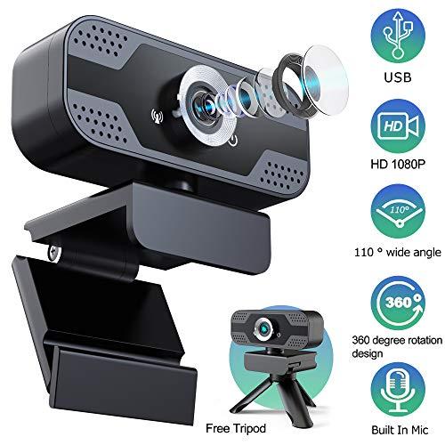Yocktec Webcam 1080P mit Mikrofon Stativabdeckung Folie,PC Laptop Desktop USB 2.0 HD Webkamera, Plug & Play für Desktop PC,Laptop,ideal für Konferenzen,Live Übertragungen,Gaming PC,Videoanruf,Skype