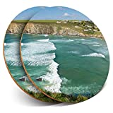Posavasos redondos de vinilo de Destination Ltd (juego de 2) – Mawgan Porth Cornish Beach Drink Gloss Bebe / Mesa de protección para cualquier tipo de mesa #45690