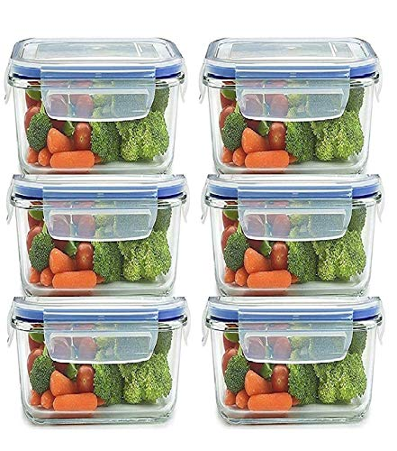 Luxafare Plastic Airtight Food Storage Container for Fridge with Lid for Meal, Food, Rice, Pasta,Pulses, Cereals, Fruits and Vegetables Microwave Safe Storage Box Container Jar (Set of 6)