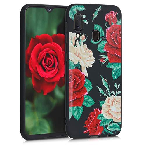 kwmobile Hülle kompatibel mit Samsung Galaxy A20e - Handyhülle - Handy Case Rosenstrauch Rot Beige Schwarz