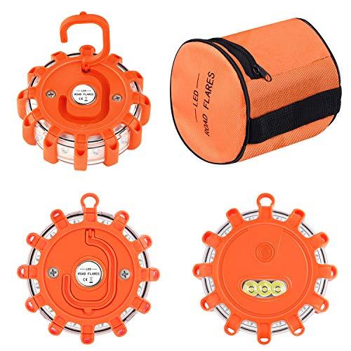 Tobfit - Baliza de emergencia en carretera LED intermitente con base magnética y gancho para el coche, camión, barco