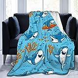 Shichangwei Flannel Blanket Super Soft Flannel Blanket Comfort Cozy Throw Blanket Lightweight Blanket, Cartoon Shark