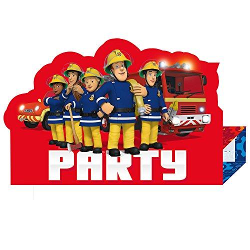 Amscan 9902184 - Einladungskarten Feuerwehrmann Sam mit Einladungen, 8 Stück, Größe 10,9 x 16 cm, Einladung, Geburtstag, Mottoparty, Party, Helden, Karneval