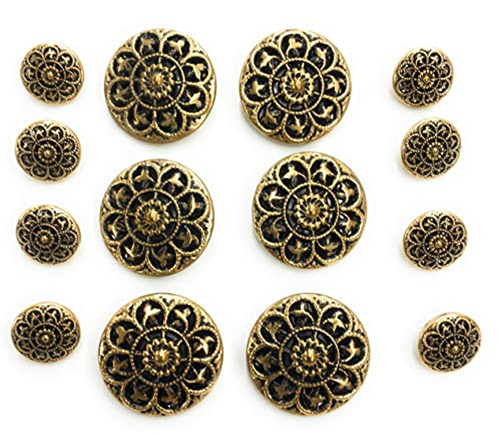 Antique Gold Buttons Set Bird Design or Blazer, Dress and Suits 14pc.