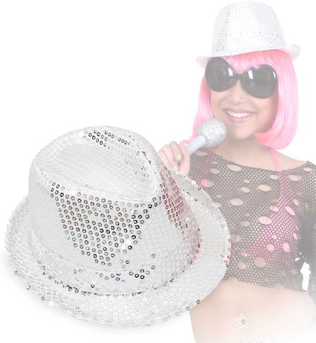 Carnaval chapeau 38558 paillettenhut argent damenhut neuf/emballage d'origine